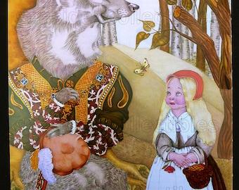 Little RED RIDING HOOD Fairy Tale Illustration by Adrienne Segur Original 1960s Book Art Print