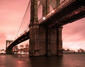 Brooklyn Bridge, Red Morning - Fine Art Color Photograph, Historical Landmarks, Red, Industrial, Nautical, New York Photography