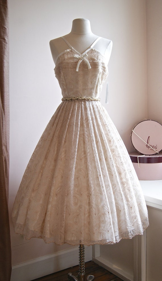 Vintage Style 50s Tea Length Wedding Dress By Xtabayvintage