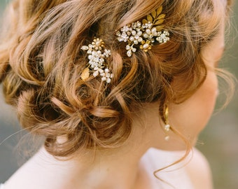 Pearl Hair Pins with Rhinestones, Gold Hair Pin Set