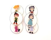 "6 Peter Pan Handmade Novelty Buttons.  6 Assorted Peter Pan themed Decorative Craft buttons. 3/4"" or 20 mm."