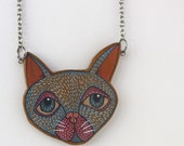 Illustrated Cat Necklace - Wood Eco Handcrafted - Limited Edition