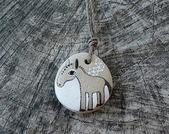 Beach Stone Horse Necklace