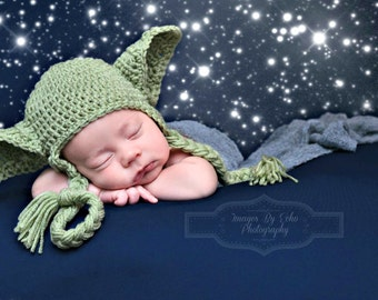 Star Wars Baby Hat Yoda Hat Earflaps Newborn 0 3m 6m Crochet Photo Prop Baby Clothes Boys Girls Gender Neutral POPULAR Worldwide Father Gift