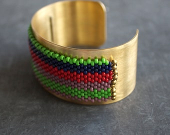 Wide Stripe Beadwork Cuff Bracelet Gold Brass Wrap Metal Colorful Beadwoven Beaded Handmade Boho Jewellery