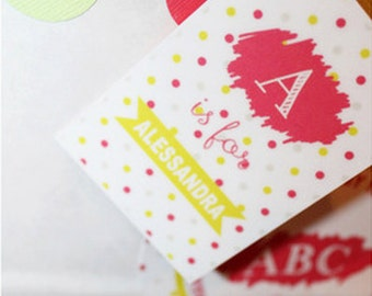 ABC ALPHABET Kids Birthday Party Printable Favor Tags - Pink and Green