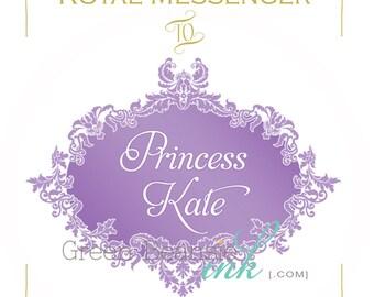 ROYAL PRINCESS Printable Favor Tags - Lavender and gold