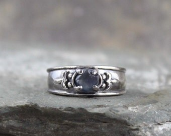 Sapphire Engagement Ring  - Raw Uncut Rough Sapphire - Sterling Silver Blue Gemstone Ring - September Birthstone Ring - Statement Ring
