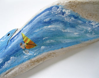 Driftwood, Painted Driftwood, Surf Art, Sail Boarder, Ocean Art, Beach Decor, Nautical,  by gardenstones on etsy