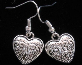 SALE! Heart Charm Fish Hook Earrings Silver Plated