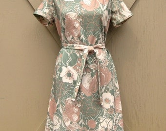 vintage Sage Green Floral Print Polyester Shift Dress