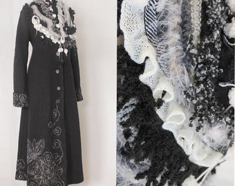 Long black Fantasy Princess Coat,  boiled wool Cardigan, embroidery coat READY TO SHIP