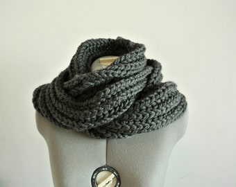 chunky cowl oversized neck warmer knitted cowl knitted neckwarmer dark gray neck warmer Winter Accessories