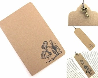 Alice Finds The Door To Wonderland - Small Moleskine Notebook and Bookmark with Charm