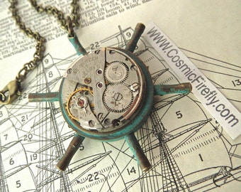 Steampunk Necklace Nautical Ship's Wheel With Vintage Antique Watch Movement Steampunk Pendant