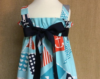 Ahoy Matey Zadee Dress..Nautical Beach Sundress.. Michael Miller Fabric Collection..Navy, Orange, White on Turquoise