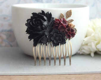 Black Rose Burgundy Dark Red Flowers Hair Comb Black Wedding Bridal Hair Comb Bridesmaid Gift Gothic Wedding Hair Comb Goth Halloween