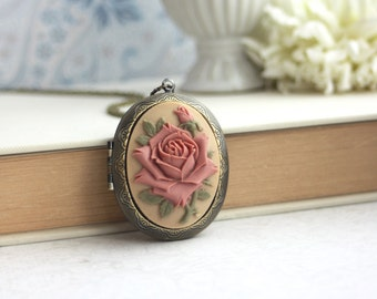 Large Carved Dusty Pink Brown Rose Flower Cameo Locket Necklace. Statement Necklace. Mothers Day Gift. For Girlfriends. Rustic Wedding Gift.