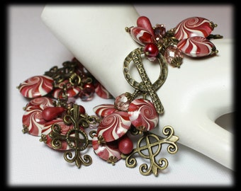 Cherries Jubilee... Handmade Jewelry Bracelet Beaded Cha Cha Polymer Clay Crystal Chain Pink Berry Brick  Bronze Antique Brass Swirl Spiral