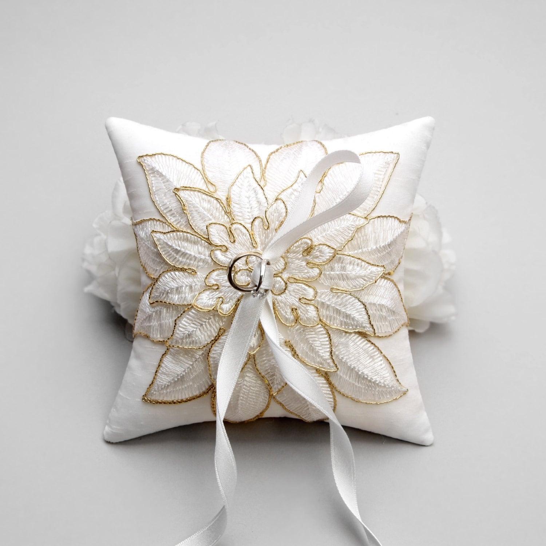 Gold flower wedding ring pillow bridal ring pillow wedding