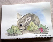 Baby Bunny Nature Art Card Nursery Watercolor Cabbage Patch Original Art
