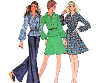 1970s Dress Top & Skirt Pattern McCalls 3720 Flared Dress Gathered Waist Top Bust 34 Junior Petite Womens Sewing Pattern UNCUT
