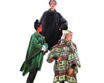 Hooded Cape Pattern Simplicity 8403 Collar or Scarf Oversize Poncho Womens Sewing Pattern Size XS S M L UNCUT