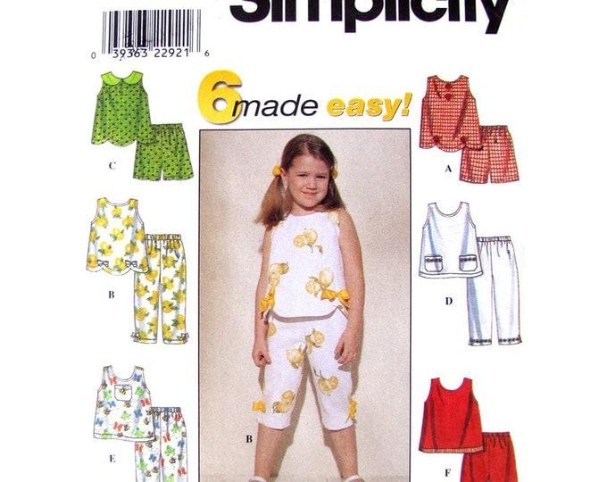Girls Scalloped Top Capri Pants Shorts Pattern Simplicity 8676 Sewing Pattern Size 2 3 4 or 5 6 6X