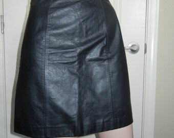 1980s black leather mini skirt