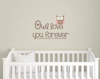 Owl Nursery Wall Decal - Children Boy Girl - Owl Vinyl Decal Set