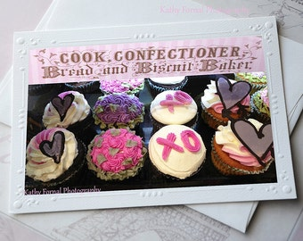 Cupcakes Note Cards, Shabby Chic Romantic Cupcake Note Cards, Dreamy Cupcake Food Photography, Cottage Cupcake Valentine Note Cards