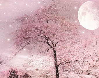 Nature Photography, Surreal Fantasy Fairytale Pink Nature, Dreamy Pink Trees Moon Stars, Fantasy Pink Moon Stars, Baby Girl Nursery Decor