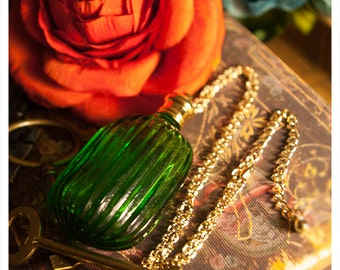 perfume bottle necklace - druscilla chained -natural perfume/cologne oil in green bottle held captive by brass chain-62 aroma options-1/3 oz
