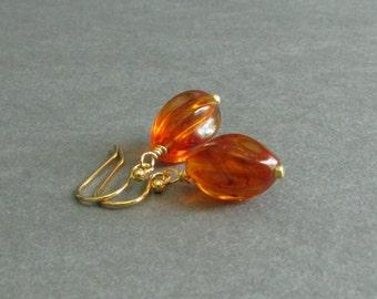 "Amber Bead Earrings, Acrylic Oval Twist Dangle, Yellow Gold Plated, Minimalist Drop Earrings, ""Classic No. 43"""