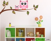 Owl Branch Custom Name Wall Decal - Owl Wall Decal, Owls on a Branch for Baby Nursery, Kids or Childrens Room, Girls Name Decal, Custom Name