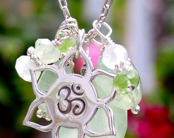ohm necklace, ohm charm, ohm jewelry, yoga necklace, yoga jewelry, om necklace, ohm symbol, charm necklace, heart chakra, healing gemstones