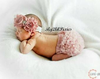 Baby girl HEADBAND and Bloomer, Dusty Rose Set, Baby Bloomers, Newborn bloomers, Ruffle Bloomers, Shabby Lace headband and bloomer, Newborn