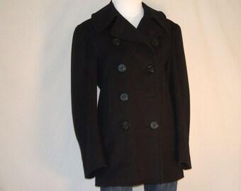 U. S. Naval Military Wool Men Pea Coat  /  Pea Jacket  /  OverCoat  /  Reefer Coat