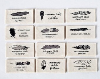 Personalized Sewing Labels with Feathers (organic labels, cotton)