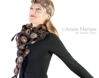 Bark textured nuno felt scarf, relief women shawl, art to wrap, sohphistique elegant winter accessories