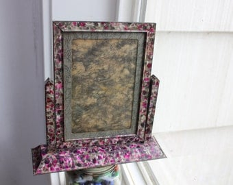 Tilt Frame Confetti Metal Antique Art Deco Picture Frame Pink Gray VINTAGE by Plantdreaming