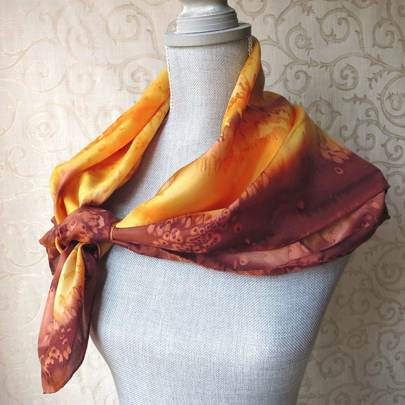 Large Square Silk Scarf Hand Dyed in Yellow and Brown