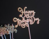 Happy Mother's Day Cake Sign - Vintage Pink or White and Gold Cake Decor Stake - Happy Mothers Day - Cake Decorating Piece