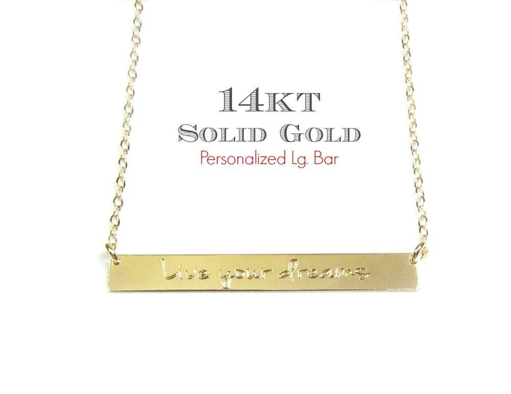 14kt Solid Gold Engraved Large Name Plate Bar Necklace