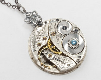 Steampunk Necklace Vintage Elgin pocket watch movement silver flower necklace Victorian aquamarine blue crystal pendant Steampunk jewelry