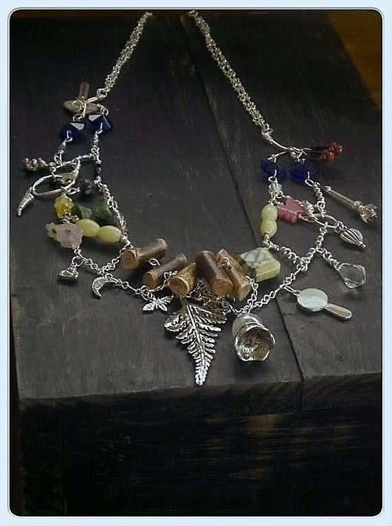 The Wizard of Oz Story wearable art Necklace, Sterling silver Ruby slipper cobalt crystal old key crystal ball Jade fairy wand