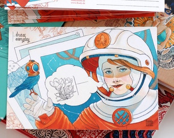 Retro and steampunk illustrated postcard: astronaut