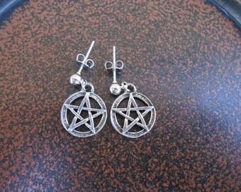 Pentagram Pewter Earrings