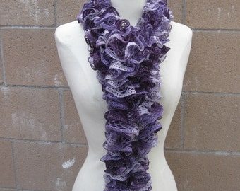 Purple Lacy Ruffled Scarf