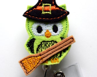 Witch Owl - Retractable ID Badge Reel - Name Badge Holder - Nursing Badge - Nurse Badge Holder - Nursing Badge Clip - Felt Badge